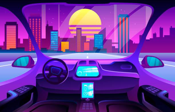 futuristisches automobil-salon oder fahrerlose auto-innenausstattung. autinomous smart autoinnenraum - selbstfahrende autos stock-grafiken, -clipart, -cartoons und -symbole