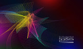 Futuristic background design with iridescent chaotic space abstraction. Techno style banner template.
