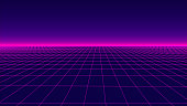 Futuristic background in retro style. Digital grid landscape of the 80s. Vector background.