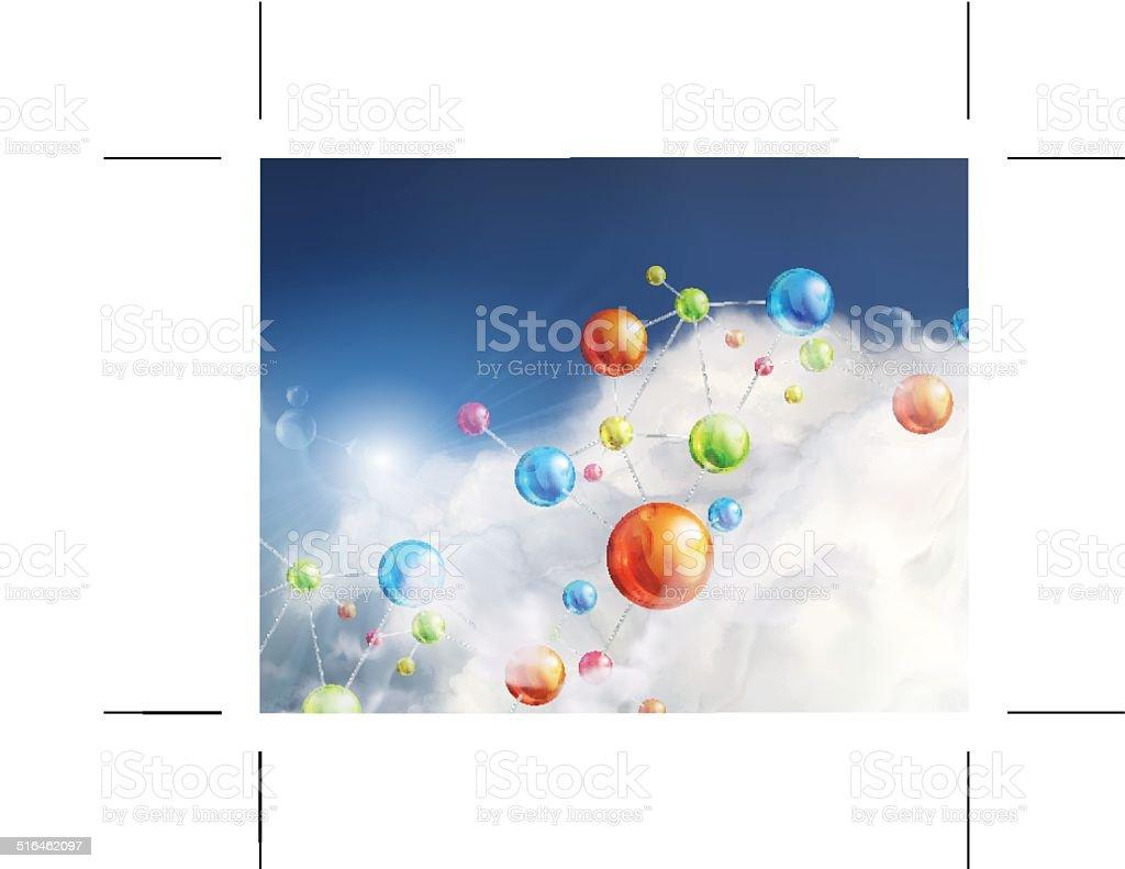 Futuristic background with molecules vector art illustration