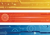 A set of three futuristic banners. Includes a yellow, an orange, and a blue banner with gears, hexagons, arrows, lines, squares, circles, numbers, etc. You can easily change the colors in this file with the global swatches.