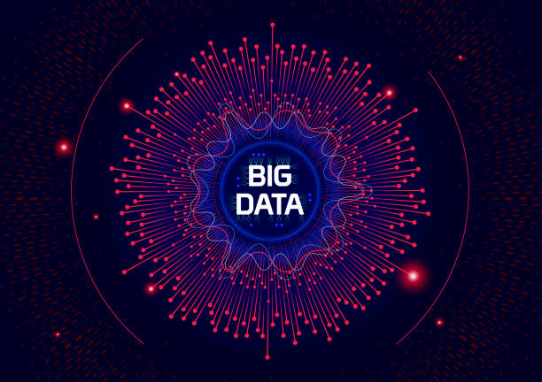 futuristische big data technologie. - big data stock-grafiken, -clipart, -cartoons und -symbole