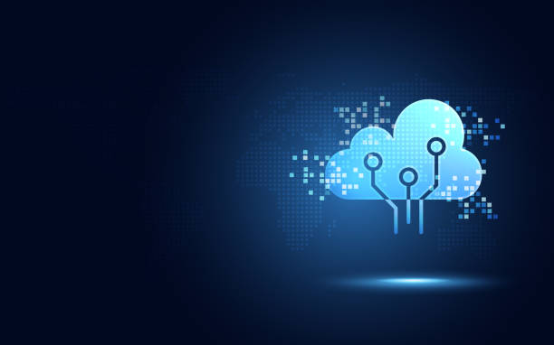 Futuristic blue cloud with pixel digital transformation abstract new technology background. Artificial intelligence and big data concept. Business industry 4.0 and 5g wifi data storage communication. Futuristic blue cloud with pixel digital transformation abstract new technology background. Artificial intelligence and big data concept. Business industry 4.0 and 5g wifi data storage communication. computer equipment stock illustrations
