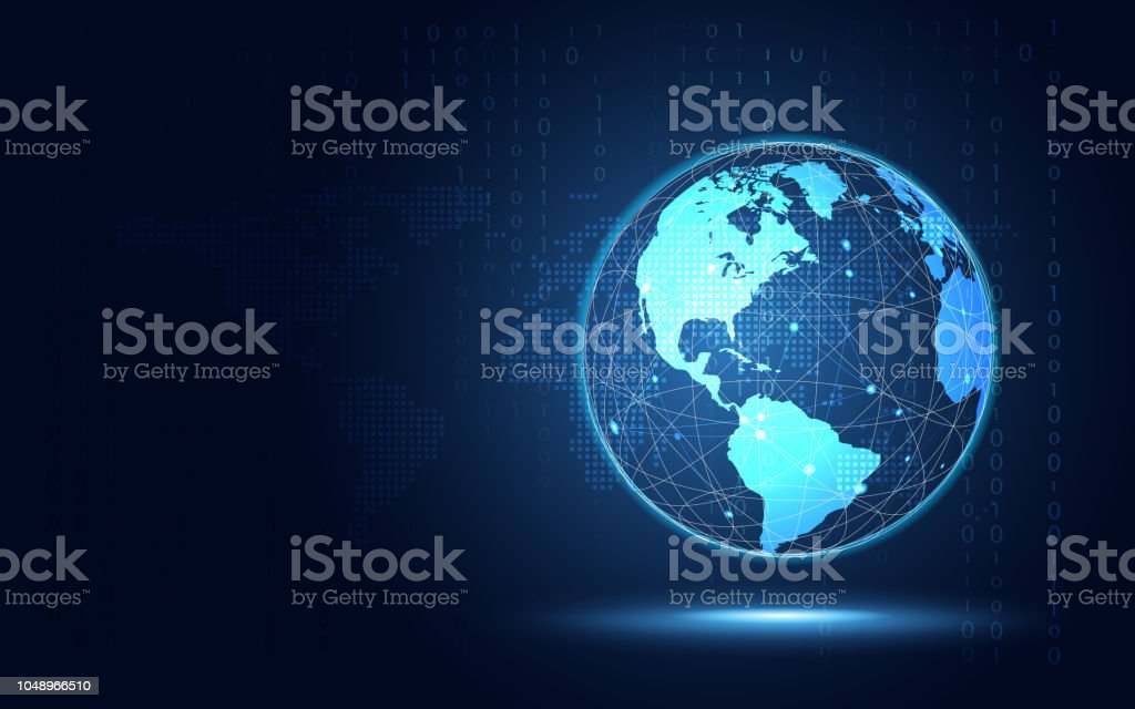 Futuristic blue earth abstract technology background. Artificial intelligence digital transformation and big data concept. Business growth computer security and investment concept. Vector illustration vector art illustration