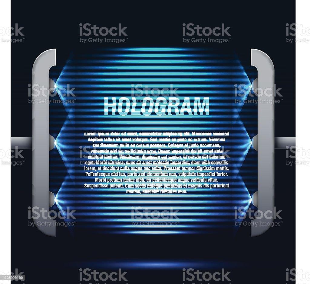 Ologramma Futuristico Sfondo Blu Acceso Immagini Vettoriali Stock