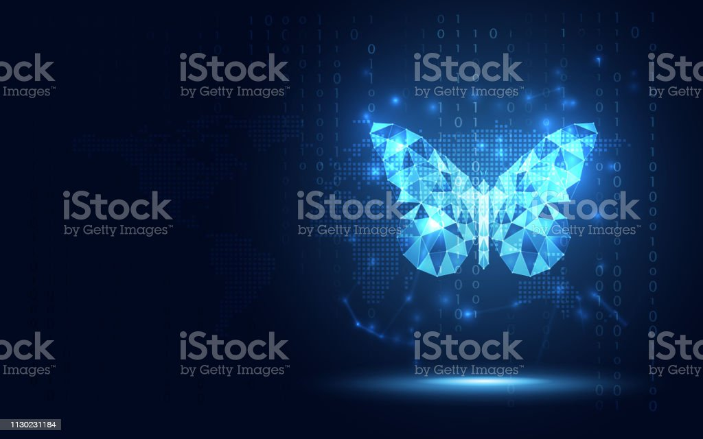 Futuristic blue lowpoly Butterfly abstract technology background. Artificial intelligence digital transformation and big data concept. Business quantum internet network communication evolution concept - Royalty-free 5G arte vetorial