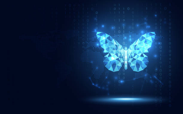 Futuristic blue lowpoly Butterfly abstract technology background. Artificial intelligence digital transformation and big data concept. Business quantum internet network communication evolution concept Futuristic blue lowpoly Butterfly abstract technology background. Artificial intelligence digital transformation and big data concept. Business quantum internet network communication evolution concept transformation stock illustrations