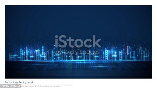 concept of smart or digital city, wire frame Cityscape in futuristic style