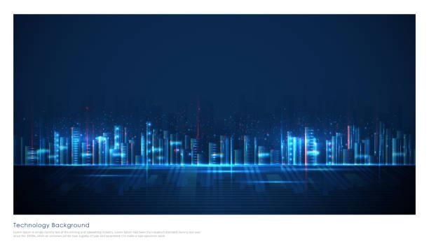 futurystyczne niebieskie tło inteligentnego miasta - futurystyczny stock illustrations