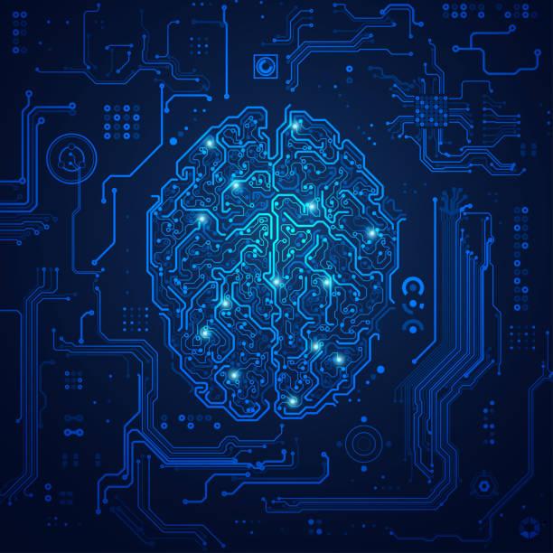 fütüristik beyin - bilgisayar yongası stock illustrations