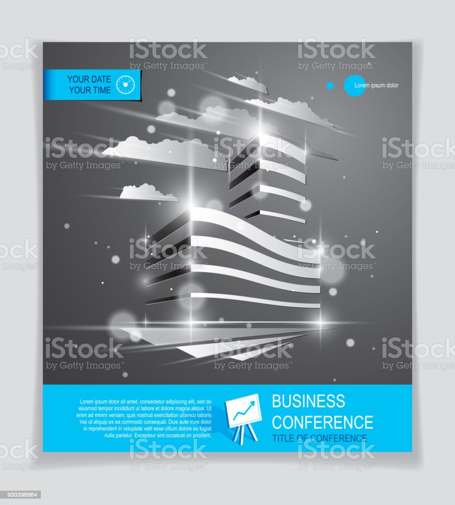Exceptional Futuristic Building Ad, Modern Vector Architecture Brochure With Blurred  Lights And Glares Effect. Real