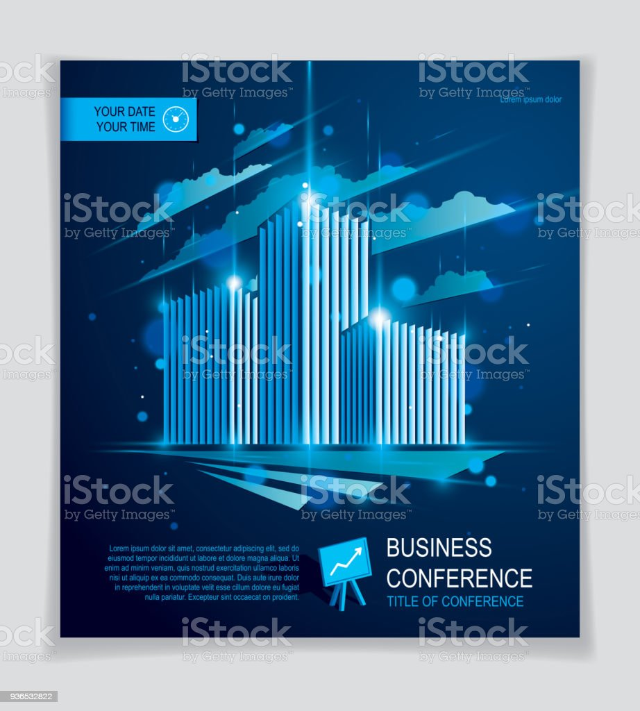Futuristic Building Ad, Modern Vector Architecture Brochure With Blurred  Lights And Glares Effect. Real