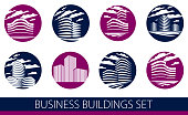 Futuristic building round shape icon set, modern style vector architecture illustrations collection. Real estate realty business center designs. 3D business office facades in big city.