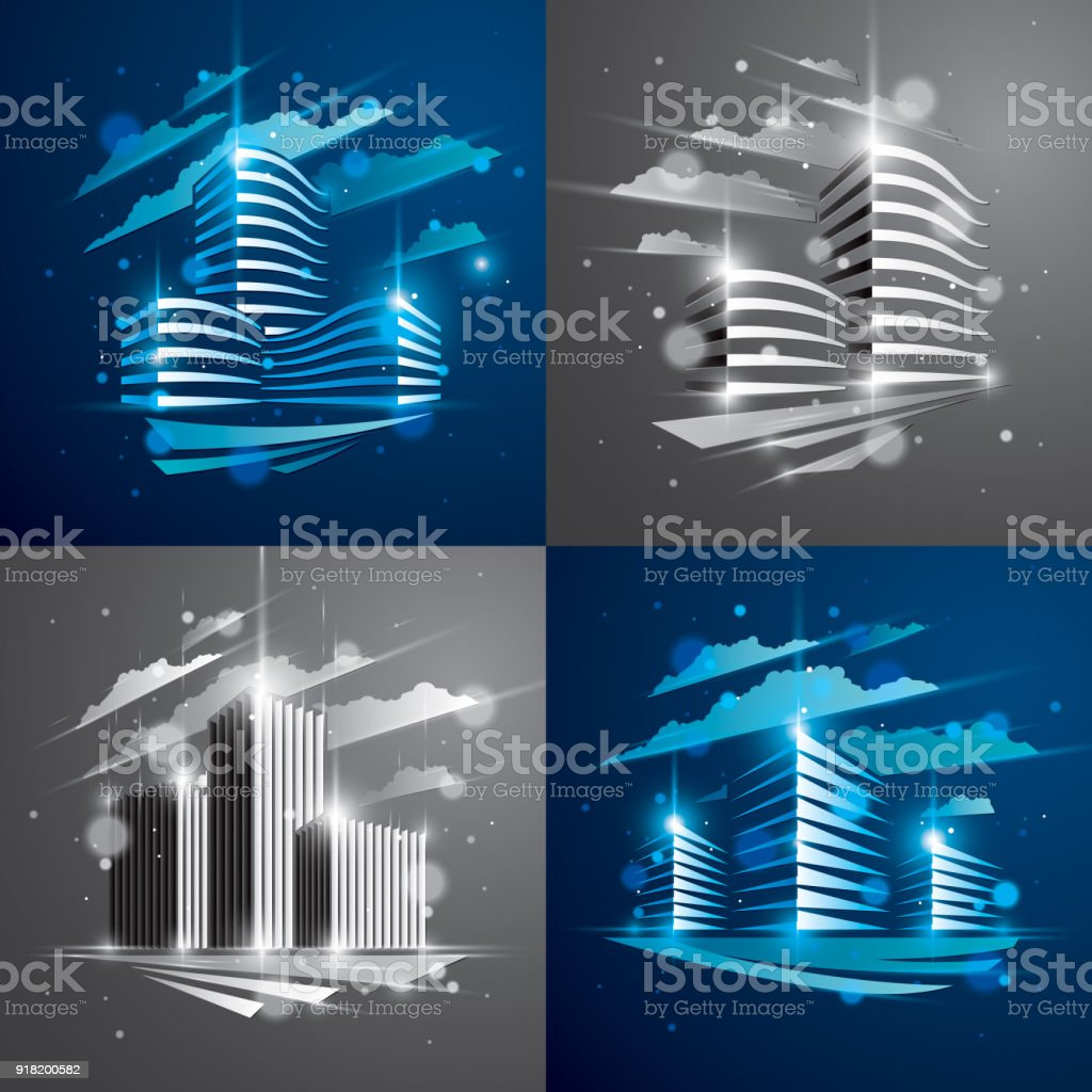 Futuristic Buildings Set, Modern Vector Architecture Illustrations With  Blurred Lights And Glares Effects. Real