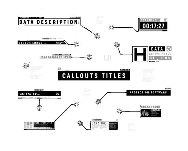 stockillustraties, clipart, cartoons en iconen met futuristische highlights. hud-set met toelichtings balk labels. informatie-toelichtingen van de onderste derde. digitale infoboxen layout templates. elementen van de hud-interface. vector illustratie. - onder