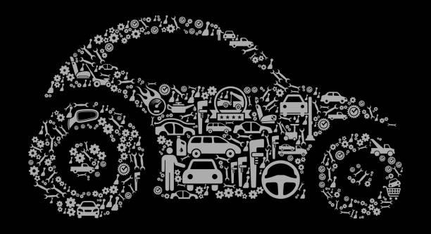 bildbanksillustrationer, clip art samt tecknat material och ikoner med futuristisk bil auto reparera bilar och automotive vector ikon bakgrund - wheel black background