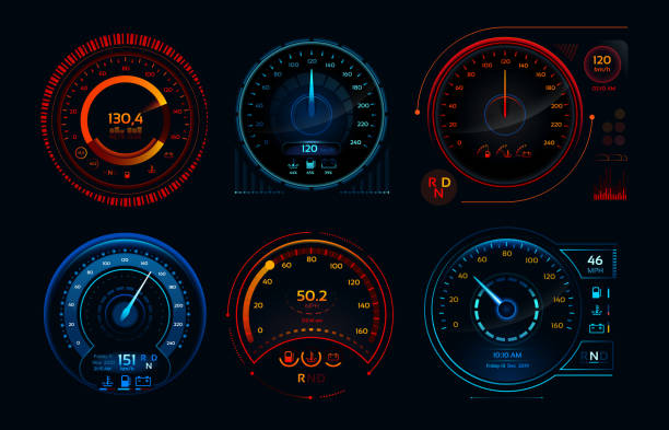 Futuristic car speedometer. Speed hud kilometer performance indicators dashboard, gas and fuel level analog panels vector collection Futuristic car speedometer. Speed hud kilometer performance indicators dashboard, gas and fuel level analog panels or automobile race sports rpm technology vector isolated icons collection speedometer stock illustrations