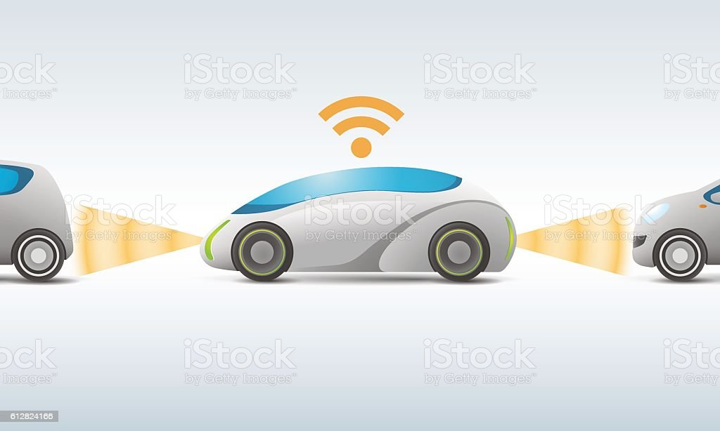 futuristic car with sensing and communication, vector illustration vector art illustration