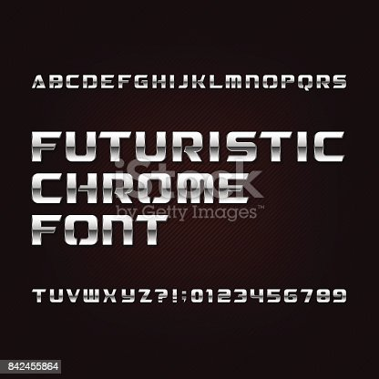 istock Futuristic chrome alphabet font. Metallic effect letters and numbersю. 842455864