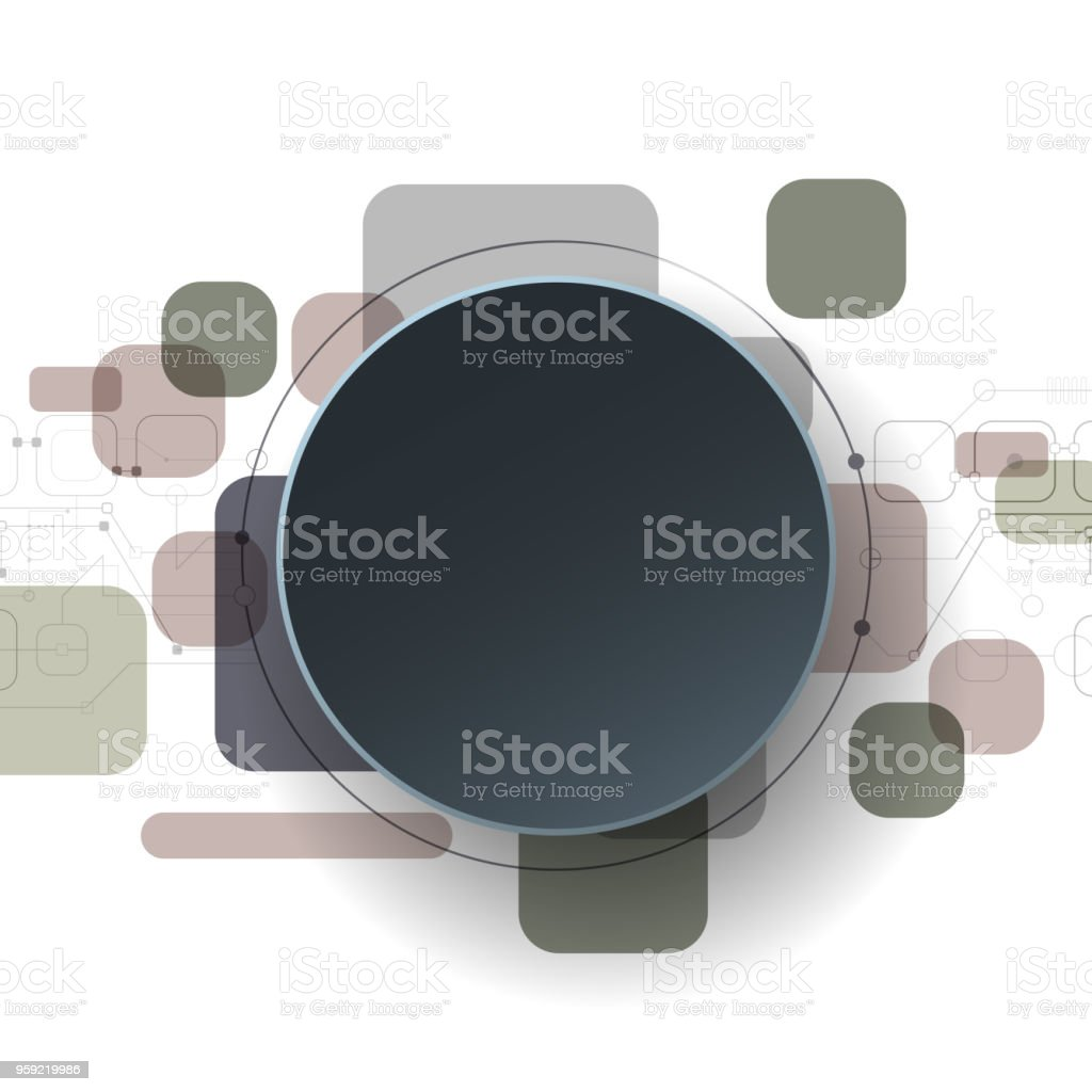 Futuristic Circuit Board With Blank White 3d Paper Circle On Light Boards Gray Background Royalty Free
