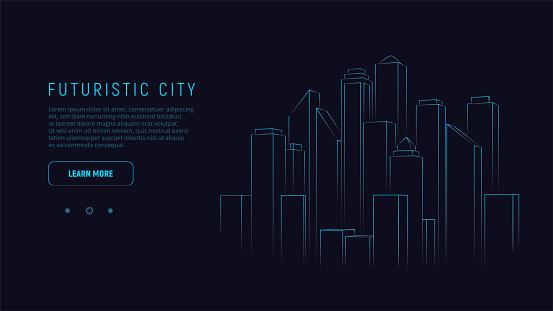 Futuristic city. Blue neon silhouette city. Digital cityscape background. Business technology concept. Vector illustration.