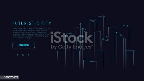 Futuristic city. Blue neon silhouette city. Digital cityscape background. Business technology concept. Vector illustration.