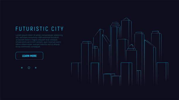 ilustrações, clipart, desenhos animados e ícones de cidade futurista. cidade de néon azul da silhueta. fundo da arquitectura da cidade de digitas. conceito da tecnologia do negócio. ilustração do vetor. - city