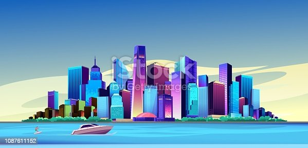 vector illustration panorama big city on the canal bank buildings skyscrapers cityscape