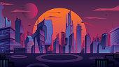 Beautiful cityscape with futuristic city at sunset.