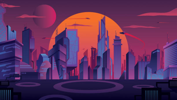 Futuristic City Landscape Beautiful cityscape with futuristic city at sunset. futuristic stock illustrations