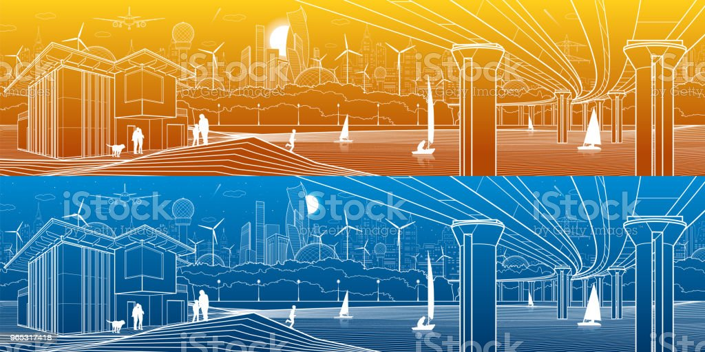 Futuristic City Life. Infrastructure panorama. Industrial illustration. Large automobile bridge. People on the river bank. Modern houses. Airplane fly. White lines, color background. Vector design art futuristic city life infrastructure panorama industrial illustration large automobile bridge people on the river bank modern houses airplane fly white lines color background vector design art - stockowe grafiki wektorowe i więcej obrazów architektura royalty-free