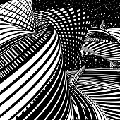 Futuristic Cityscape with Skyscrapers and Office Buildings. Halftone Pattern Wavy Grid with Gradient and Black Background