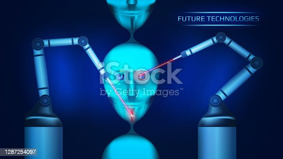 A futuristic concept of creating artificial intelligence on a conveyor belt. Two mechanical manipulators create cybernetic robot heads with lasers. Cyborg face. Vector illustration.
