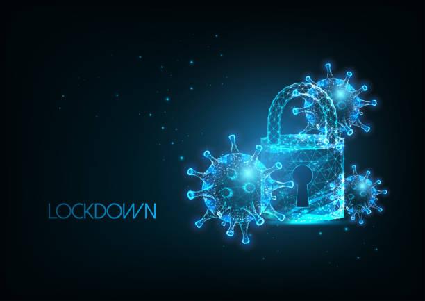illustrazioni stock, clip art, cartoni animati e icone di tendenza di futuristic coronavirus covid-19 pandemic lockdown banner with glow ow poly virus cells and padlock - lockdown