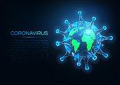 Futuristic coronavirus covid-19 spread over the world concept