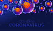 Futuristic Coronavirus or Covid-19 web banner template with glowing virus cell on realistic glossy ball on dark blue.
