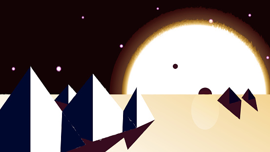 Futuristic cosmic landscape - Large sun over the pyramids.