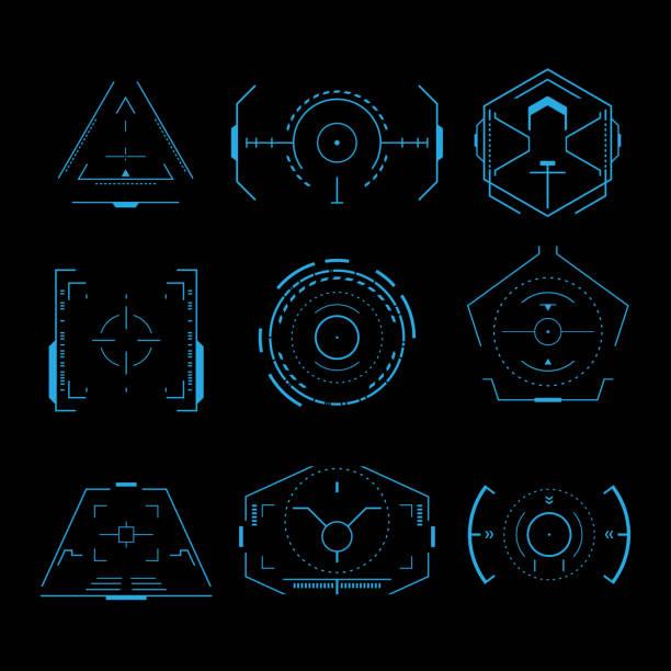 futuristic crosshair set - radar stock illustrations