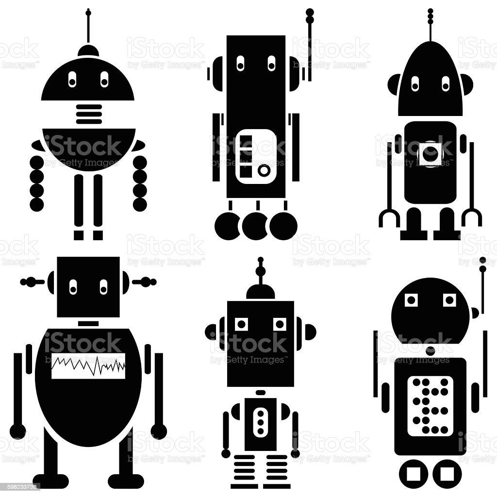 Futuristic cyborgs in black and white set of 6 ilustração de futuristic cyborgs in black and white set of 6 e mais banco de imagens de abstrato royalty-free