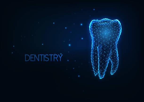 bildbanksillustrationer, clip art samt tecknat material och ikoner med futuristisk tandvård, tand vårdkoncept med glödande låg månghörnig mänsklig molar tand. - molar