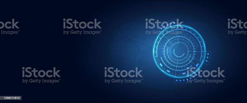 Futuristic digital transformation abstract technology blue background. Artificial intelligence and big data concept. Business growth computer and hacking cyber security theme. Vector illustration vector art illustration