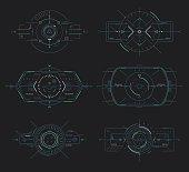 Futuristic display control, navigation panel hud elements, vector target