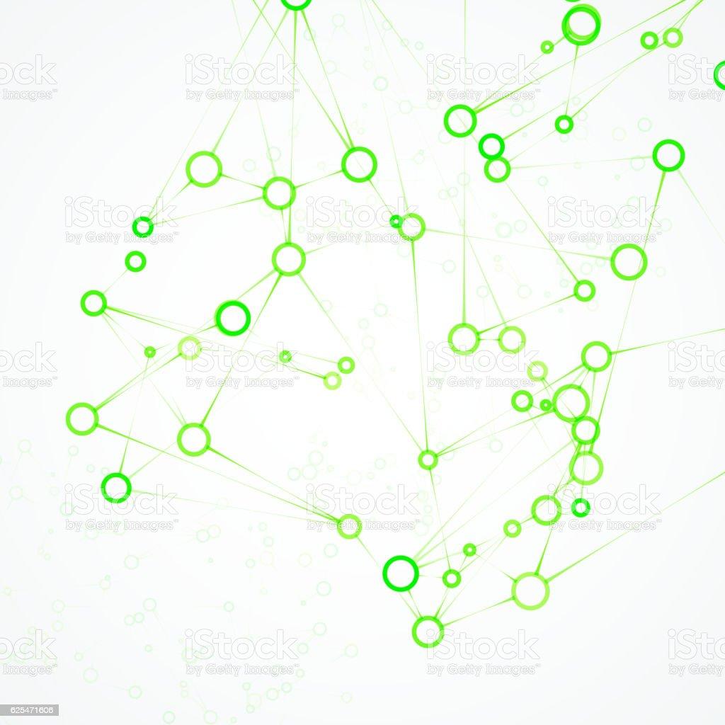 Futuristic dna, abstract molecule vector art illustration