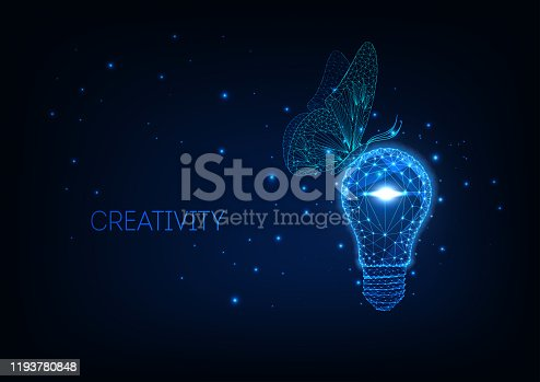 Futuristic ecologically friendly idea concept with glowing low polygonal light bulb and sitting butterfly on dark blue background. Modern wire frame mesh design vector illustration.
