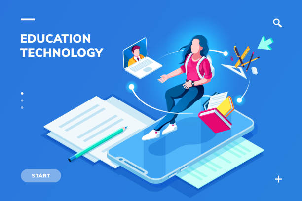 ilustrações de stock, clip art, desenhos animados e ícones de futuristic education technology page for smartphone application. isometric banner for online education. student woman on top of phone and teacher at notebook. digital college or school. e-learning - fundo oficina