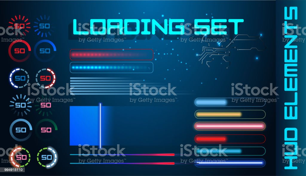 Hud Futuristic Element Loading Bars Set Vector Background