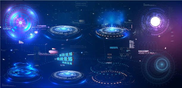hud gui futuristisches element. set von circle abstract digital technology ui futuristic hud virtual interface elements - hologramm stock-grafiken, -clipart, -cartoons und -symbole