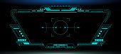 HUD Futuristic Elements Automatic Target Scan User Screen Interface Vector. Green Abstract Scifi Control Monitor Panel illustration