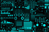 HUD Futuristic Elements Background Layout Pattern Design Vector. Green Abstract Future UI Monitor Control Template Illustration