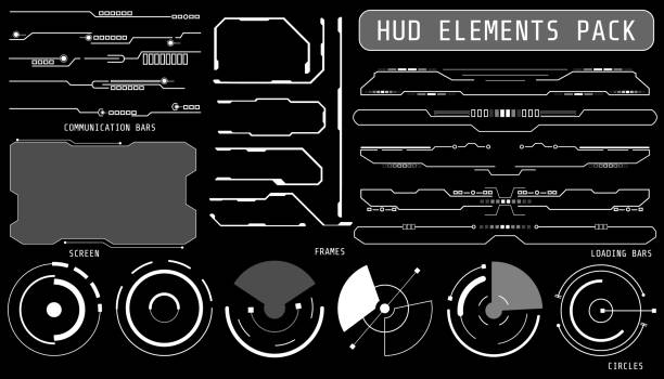 hud futuristic elements set by pattern and loading bars screen crosshair target screen frameinclude for game user interface or app vector background - cztery żywioły stock illustrations